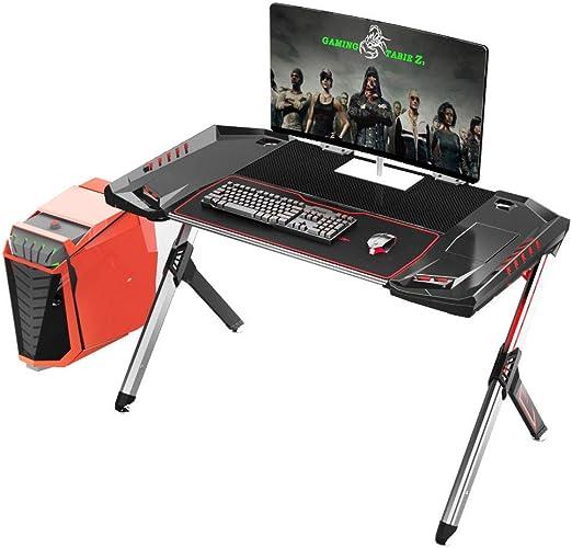 KTDZ Gaming Desk, Mesa De Juegos para El Hogar Escritorio Simple, Textura De Fibra De Carbono Elegante Estudio RGB con Cargador USB Luz LED Negra: Amazon.es: Hogar