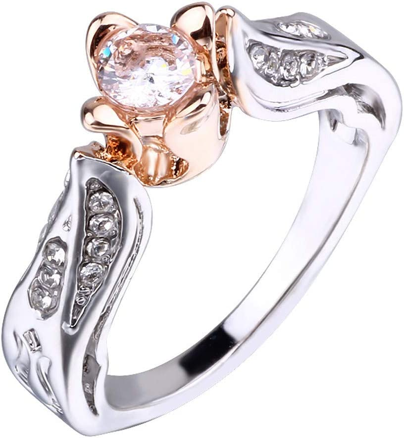 Boyfriend Exquisite Rose Gold Rose Floral Ring Silver Flower Wedding Jewelry Size 5-10a Good Gift for a Girlfriend Family