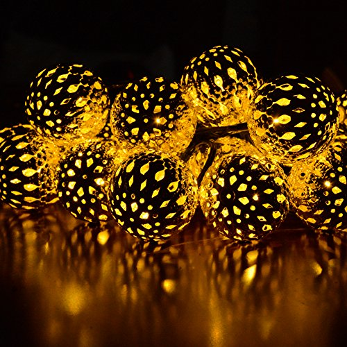 dephen LED Solar String Lights, Warm White, 20 Globe Moroccan Balls, 15ft LED Fairy String Lights, Solar Powered Lantern, Christmas Strand Lighting for Outdoor,Garden,Yard,Patio,Party,Home Decoration - 15' Led Light String