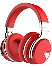 COWIN E7 Active Noise Cancelling Bluetooth Headphones with Mic Hi-Fi Deep Bass Wireless Headphones Over Ear, Comfortable Protein Earpad, 30 Hours Playtime for Travel Work TV Computer iPhone - Red