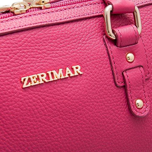 Zerimar Borsa in Pelle da Donna Morbida | Borsa da Donna Grande | Borsa a Spalla Donna | Colore: Rosso | Misure: 29x21x18,5 Fuxia