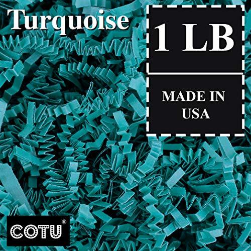 1 LB Turquoise Shred Gift Basket Shred Crinkle Paper Filler Bedding by COTU (16 -
