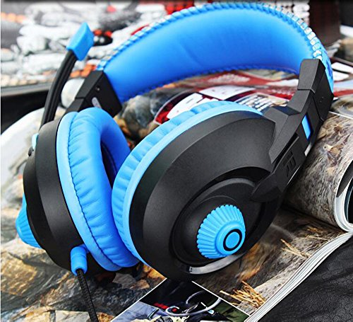 LILINA Bluetooth Headset Lightweight, Hi-Fi Stereo Wireless Headset, Foldable Headset, Built-In Microphone And Wired Mode, Esports Gaming Karaoke Headset Desktop Headset With Microphone,Blackblue by LILINA (Image #2)