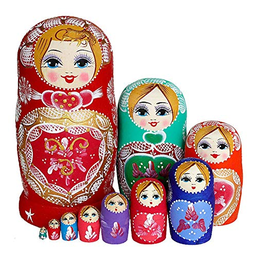 Coppthinktu 10Pcs Russian Nesting Dolls - Wooden Matryoshka Authentic Russian Stacking Dolls, Hand Painted Babushka Dolls for Kids Toys Birthday Christmas New Year Wishing Gift