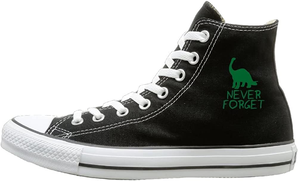 Shenigon Never Forget Dinosaurs Canvas Shoes High Top Design Black Sneakers Unisex Style