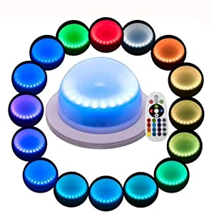 LACGO 18 LEDs 16 Color Options Remote Control Chargable Wedding Under Table Light, Waterproof LED Garden Light, Multicoloured Swimming Pool Light for Hotels, Bars, Home Indoor Outdoor Decoration(1PCS)