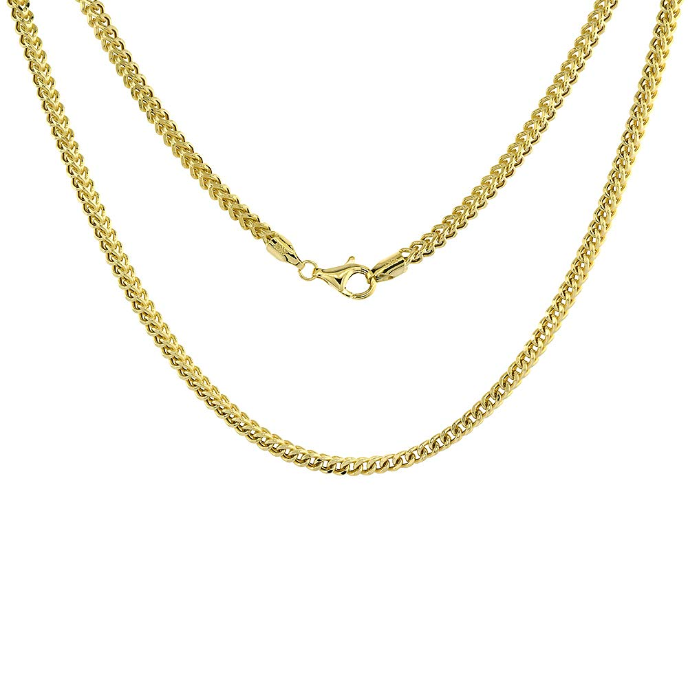 3mm Hollow 10k Yellow Gold Franco Chain Necklace for Men & Women Nickel Free, 24 inch