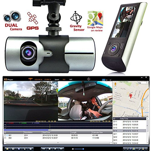 """2.7"""" Vehicle 1080P Car DVR Camera Video Recorder Dash Cam Dual Lens G-Sensor GPS"""