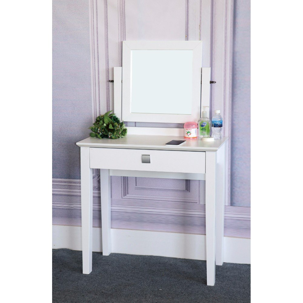 Benzara BM148714 Dresser Table with Adjustable Mirror, White