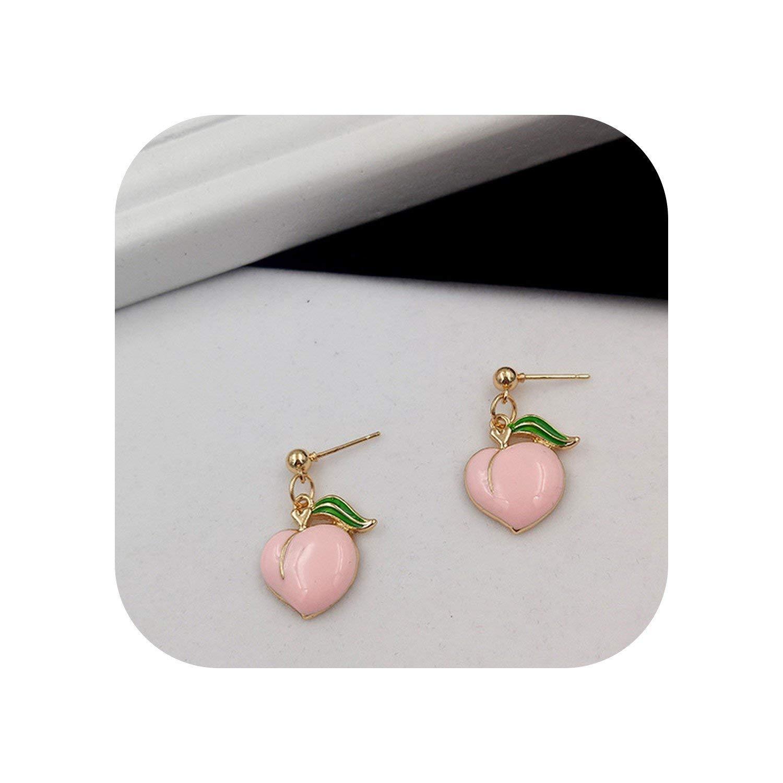 Earrings For Women Peach Stud Earrings Contracted Joker Cute Girl Peach Female Stud Earrings