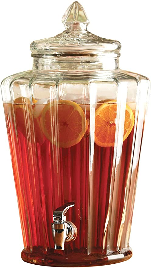 Amazon Com Circleware Elegant Sun Tea Jar Beverage Dispenser And Glass Lid Home Kitchen Glassware Water Pitcher For Juice Beer Kombucha Cold Drinks Huge 2 3 Gallon Crown Iced Beverage Dispensers
