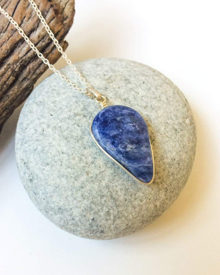 Wire Wrapping 34mm Sunset Sodalite Cab Blue Gemstone Oval Cabochon Semi Precious Pendant Blue Teardrop 47cts #1,036