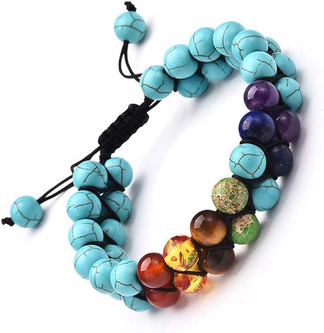 7 Chakra Bracelet Crystal Jewellery Healing Stones Balance Reiki Yoga 2 Layer