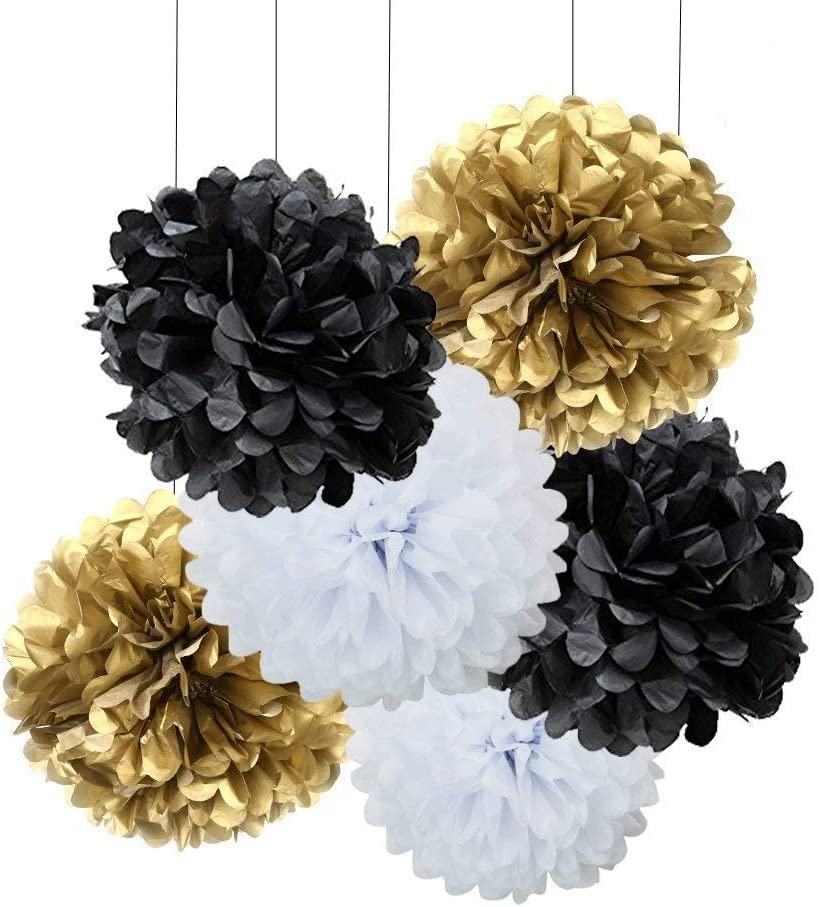 MOWO 18pcs Black and White Gold Craft Tissue Paper Pom Poms Kit Hanging Decorations Ceiling Hangs Wall Decor Tissue Paper Flowers Balls Wedding Party Favors Baby Shower Decorations