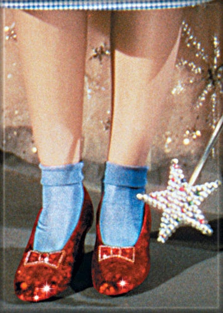 """Ata-Boy Wizard of Oz Ruby Slippers and Wand 2.5"""" x 3.5"""" Magnet for Refrigerators and Lockers"""