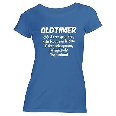 Monkiez Damen T Shirt Oldtimer Geburtstag 66 Jahre Birthday 66 Y