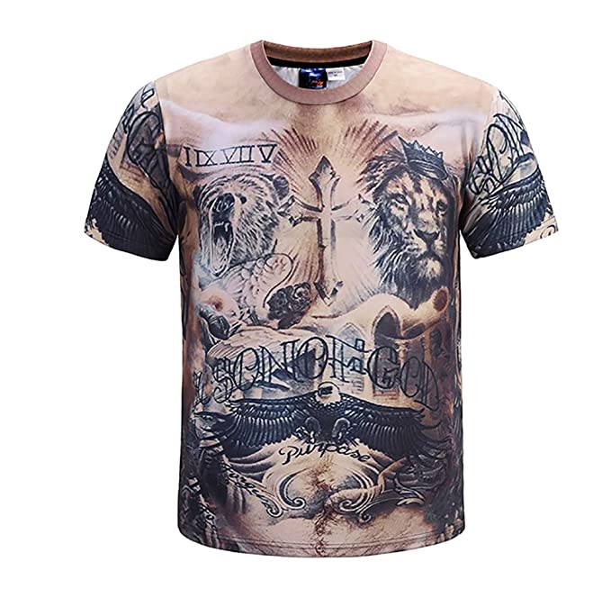 49ac72742 Amazon.com: Men's 3D Art Printed Muscle T-Shirts Summer Short Sleeve ...