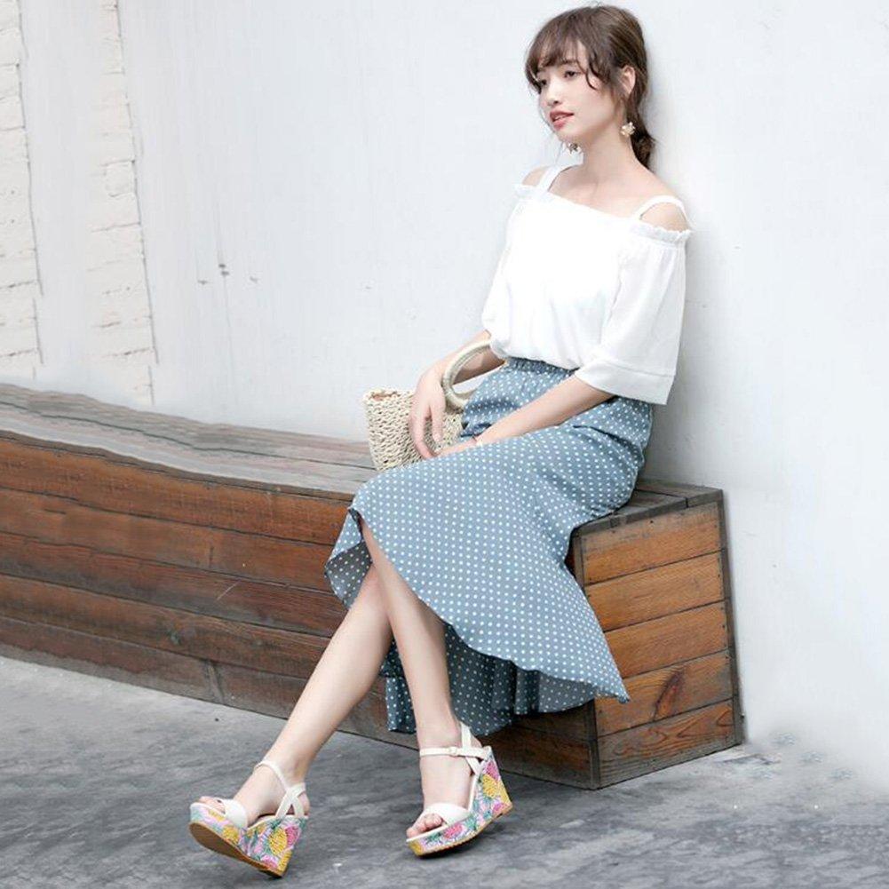 Jingsen Sommer Koreanische Stöckelschuhe mit Wort Schnalle Sandalen Schuhe Schuhe Sandalen (Farbe : Beige, Größe : 36) Beige d7d9c4