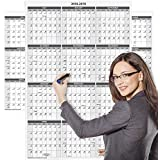 2018-2019 Academic Wall Calendar, Laminated, 24 x 36 Inches, 2-Sided Reversible Vertical/Horizontal, Mounting Tape Included (White)