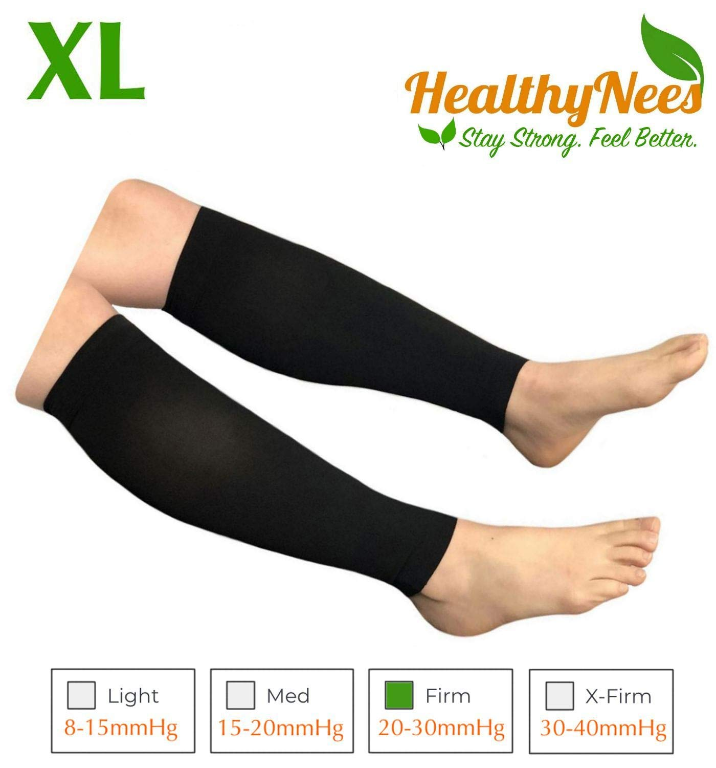 HealthyNees Shin Calf Sleeve 20-30 mmHg Medical Compression Circulation Extra Wide Plus Size Big Tall Leg Thick Calves Firm Support (Black, Regular Calf XL) by HealthyNees