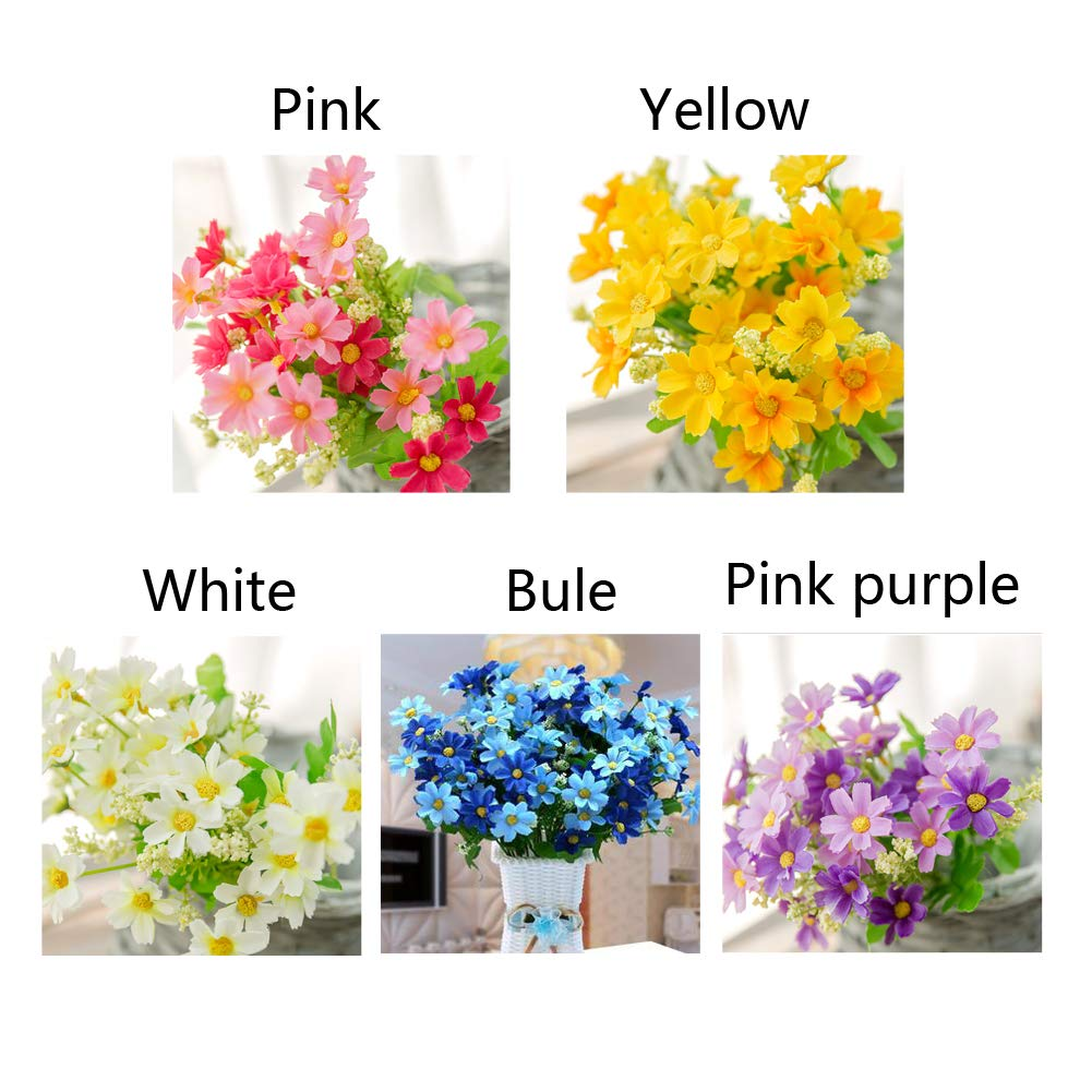 Yellow EQLEF Daisy Artificial Flowers Lifelike Beautiful Fake Daisy White Purple Pink Blue for Home Wedding Garden Decor 5 Bunches White, Pink, Purple, Yellow, Blue