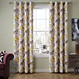 ChadMade Print Floral Blackout Lining Curtain Panel Drapes Nickel Grommet Yellow 52W x 72L Inch (1 Panel), Heading/Size Customizable For Bedroom | Living Room | Club | Hotel | Restaurant