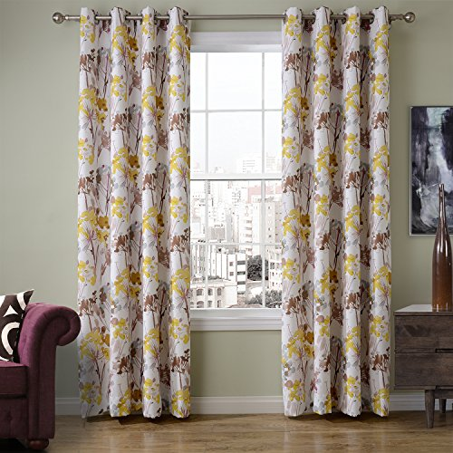 ChadMade Print Floral Blackout Lining Curtain Panel Drapes Nickel Grommet Yellow 52W x 84L Inch (1 Panel), Heading/Size Customizable For Bedroom | Living Room | Club | Hotel | Restaurant For Sale