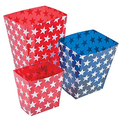 - Fun Express - Patriotic Candy Buckets (6pc) for Fourth of July - Party Supplies - Containers & Boxes - Plastic Containers - Fourth of July - 6 Pieces