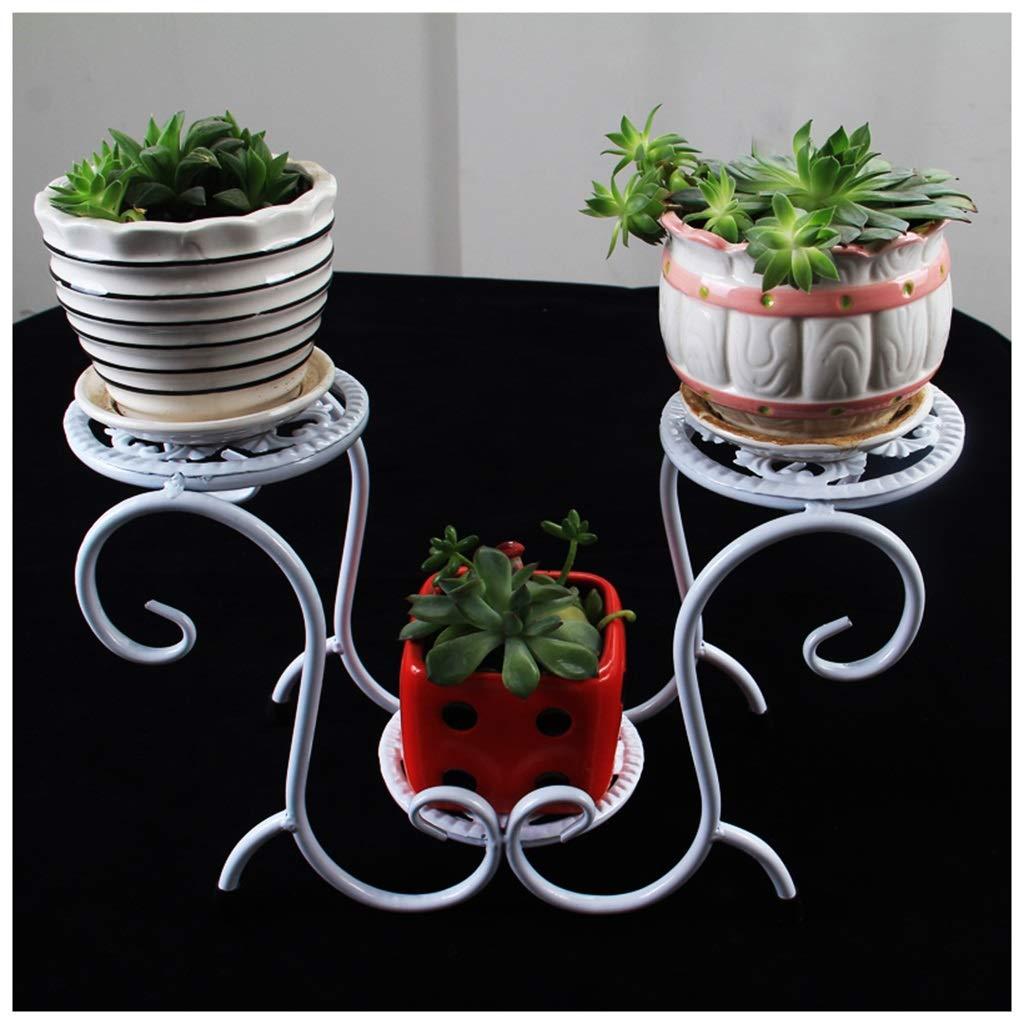 MeiMei Flower Stand Iron Art Indoor Soggiorno Balcone Doppio Strato Scaletta vegetale Chlorophytum Flower Pot Shelf