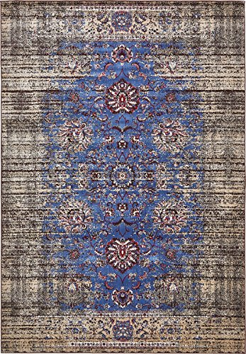 Vintage Contemporary Inspired Overdyed Distressed Rugs Blue 6′ 11 x 10′ Chelsea Rug Traditional Area Rug Living room Bedroom Dining room Carpet