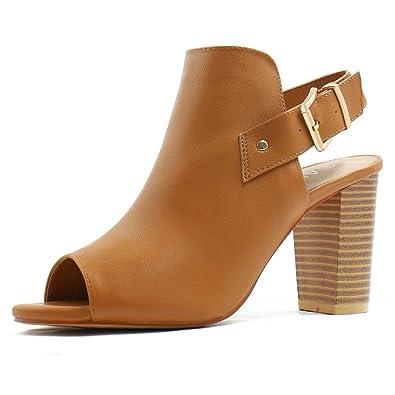 Allegra K Damen zehenfrei Pantolette Schichtabsatz Slingback Sandalen US 8.5, Kamel/EU 39