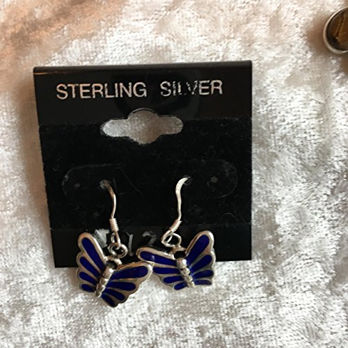 Natural Lapis Gemstone Sterling Silver Butterfly Dangle Earrings