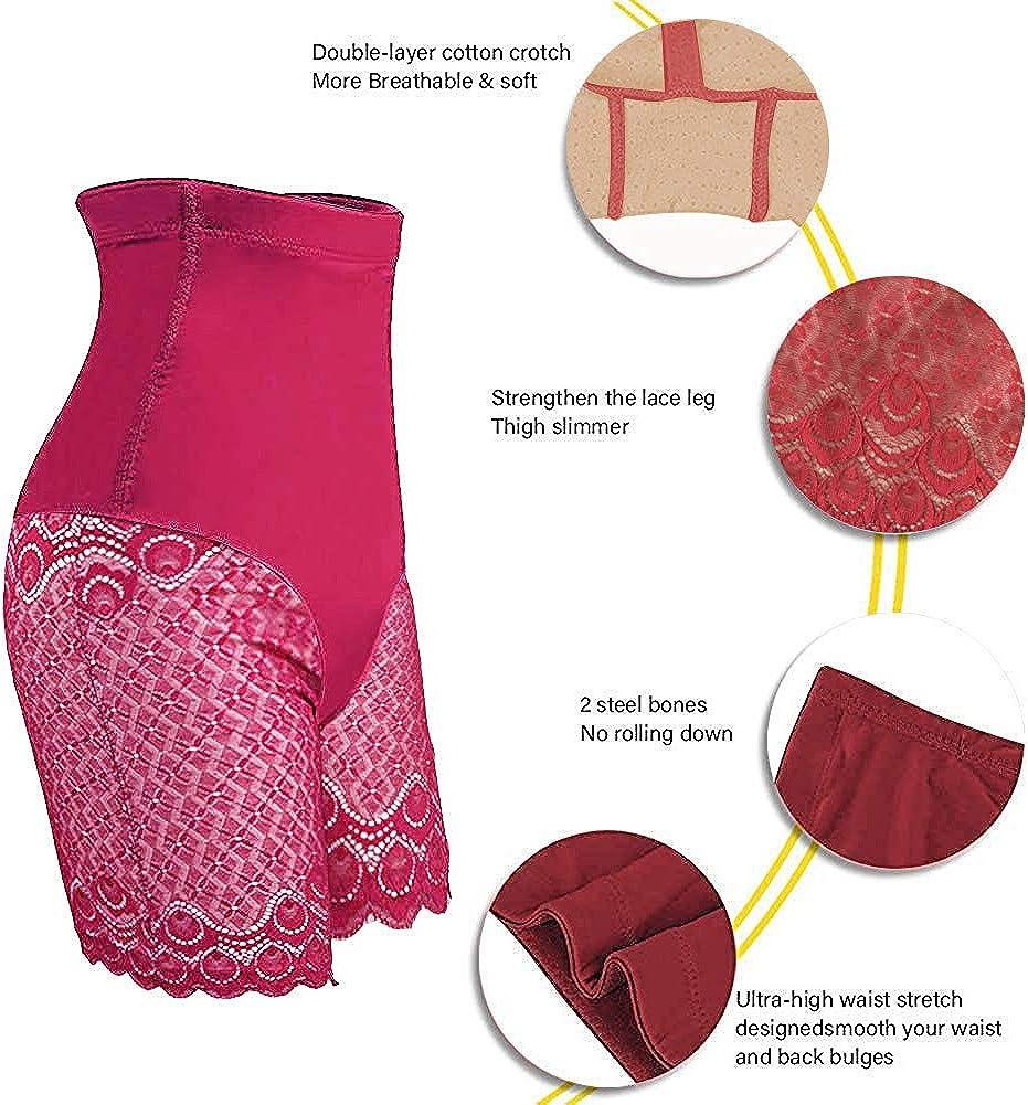 HANFASION Women Tummy Control Bodyshaper Thigh Slimmer Firm Tummy Control Underwear Lace Pants Butt Lifter Boyshorts Knickers Slimming Briefs Plus Size