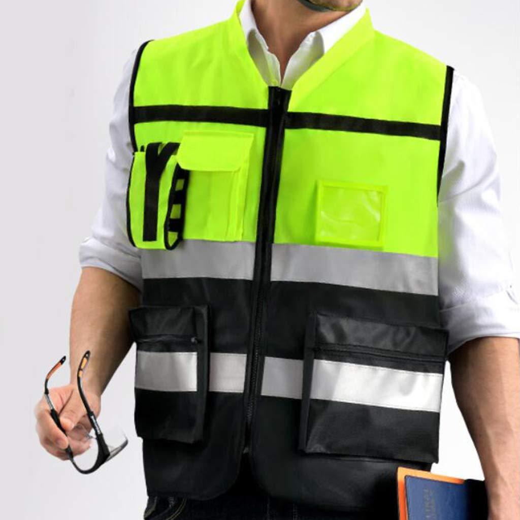 H HILABEE Neun Taschen Unisex Hohe Sichtbarkeit Warnweste Sicherheitsweste Reflektierende Weste mit Rei/ßverschluss Gelb A