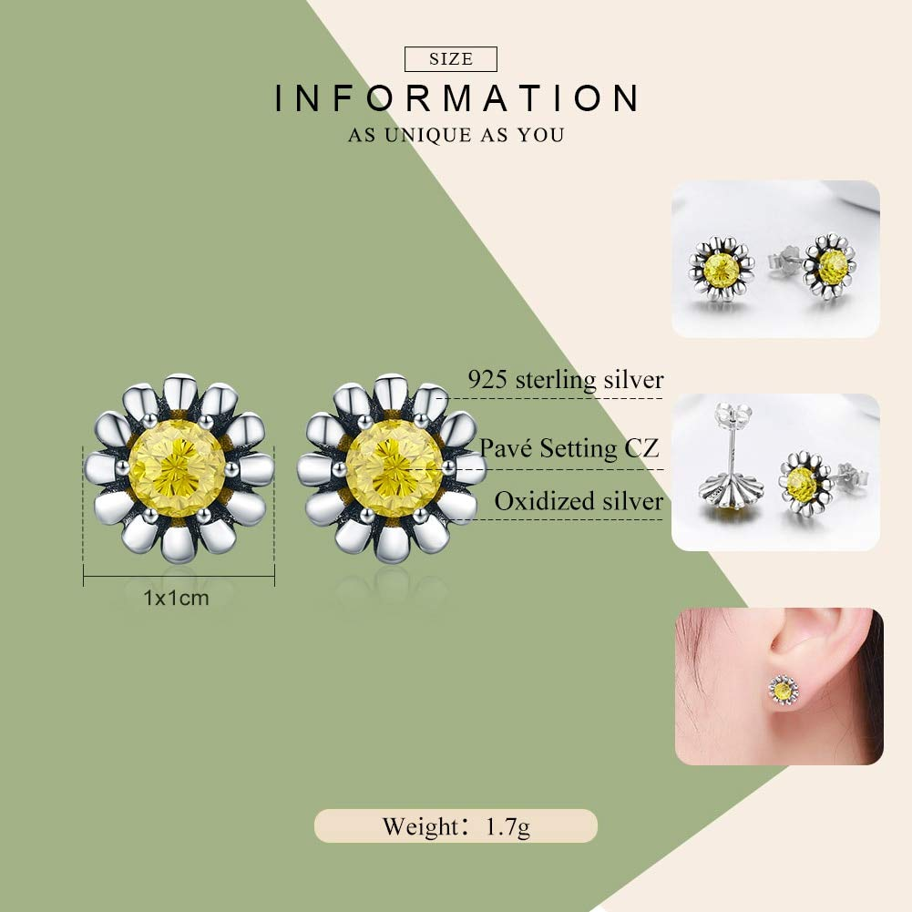 Oseni 925 Sterling Silver Yellow Daisy Flower Clear CZ Stud Earrings for Women Fine Silver Jewelry Gift SCE255