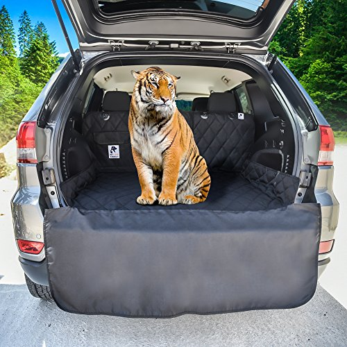 Dog Cargo Liner for SUV, Van, Truck & Jeep - Waterproof, Machine Washable, Nonslip Pet Seat Cover with Bumper Flap will keep your vehicle as clean as ever - XL, Universal Fit - BONUS Carry Bag by WE LOVE ANIMALS