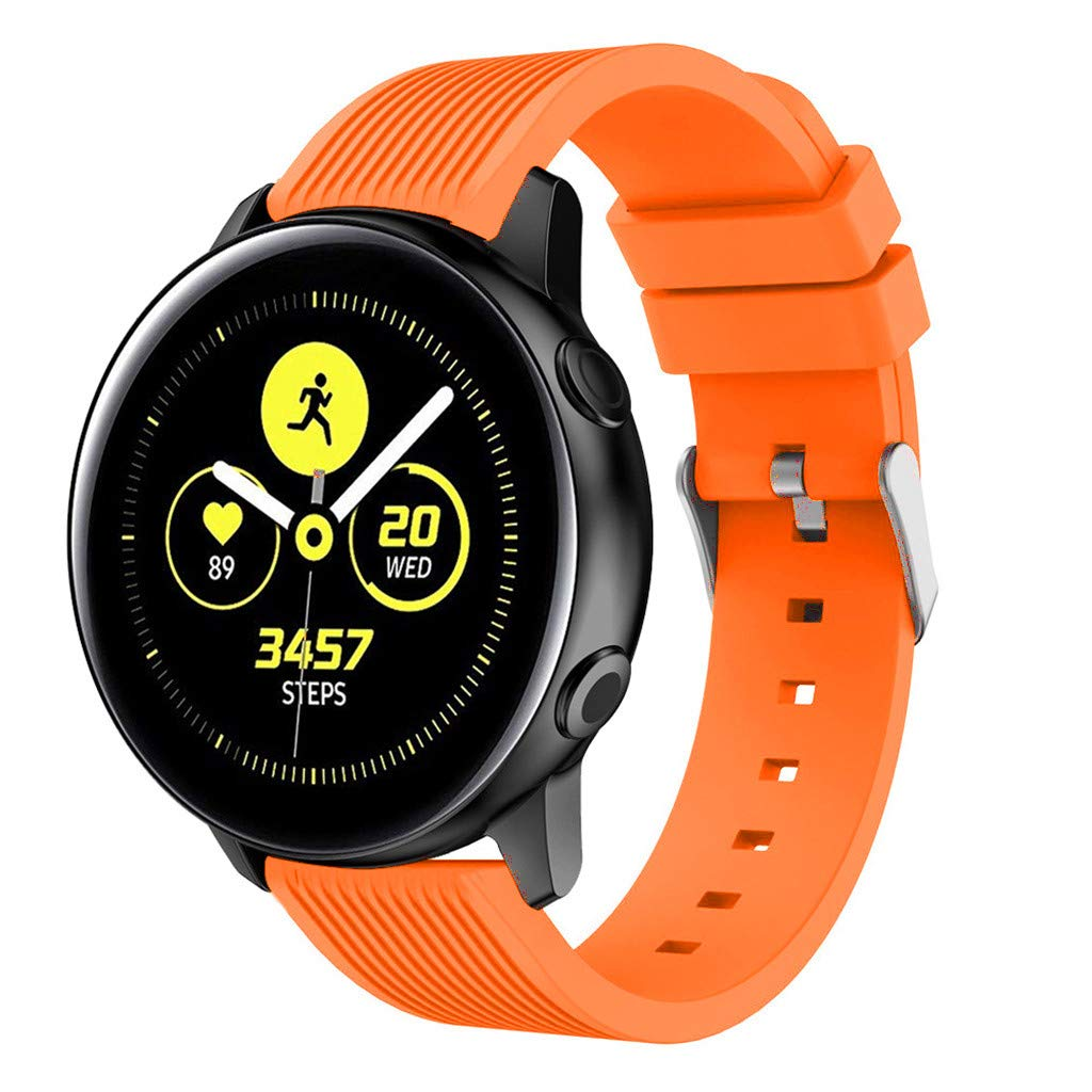 Ecosin Fashion Men Women Sport Soft Silicone Band Replacement Band Strap for Samsung Galaxy Watch Active (Orange)