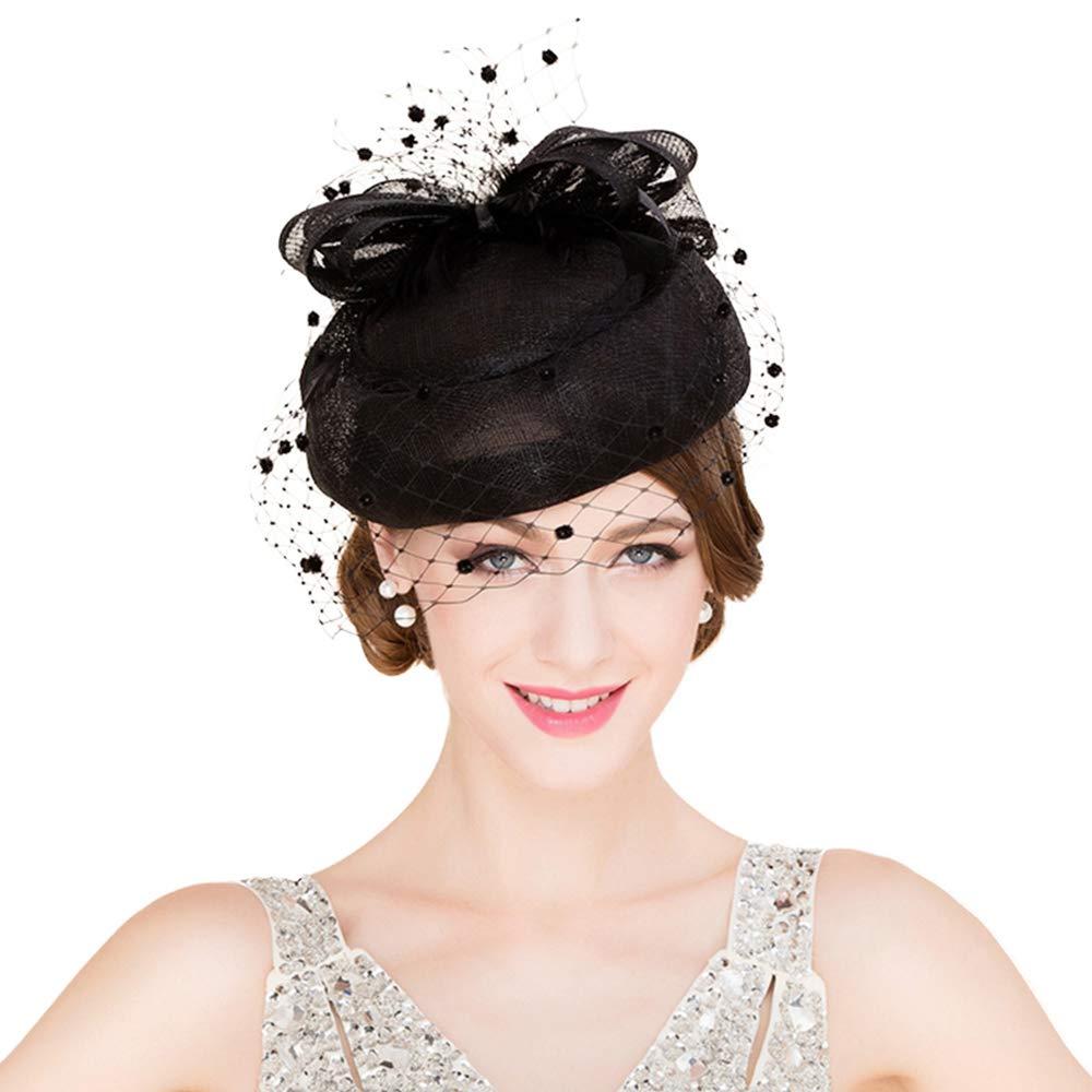 F FADVES Fascinator Sinamay Pillbox Hats Kentucky Derby Tea Party Wedding Hat with Veil Black