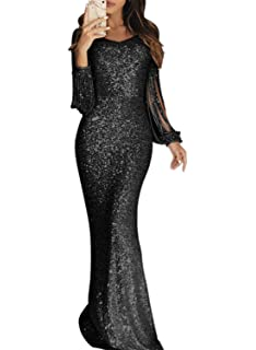 0d1068c9e6 KAXIDY Women Dress Sequin Beaded Evening Party Maxi Dresses Long ...