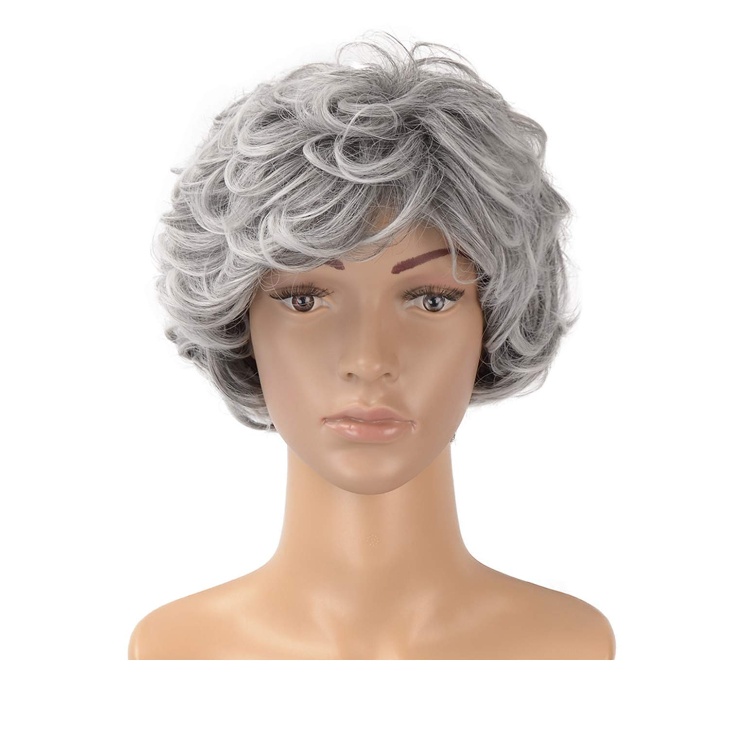 Hawkko Curly Short Synthetic Wigs for Women Natural Looking Cosplay Daily Party Wig(Gray White)