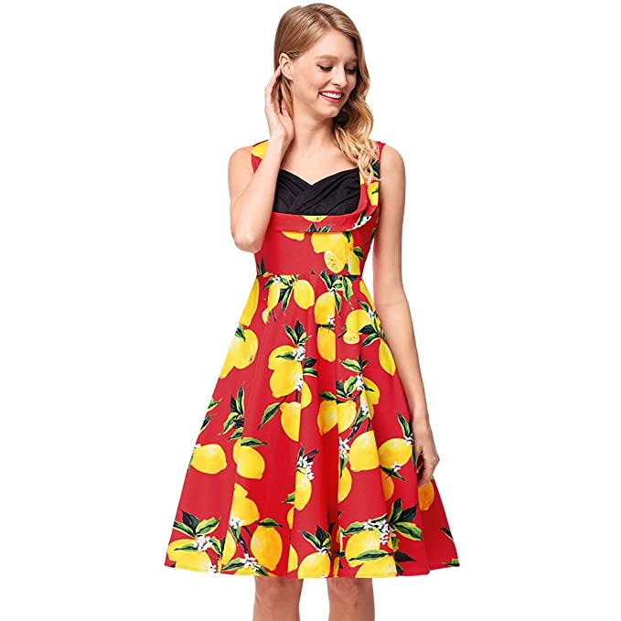 antaina Impresión de Mango Rojo 1950 Dulce Colmena Acampanada Dulce Lindo Patinador Oscilación Vestido de Mujer