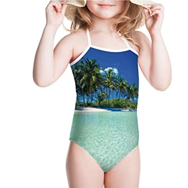 5081c59b16de3 Amazon.com: iPrint Swimsuit for Girls Tropical Island with Palm Trees and  Ocean Heaven Swimwear: Clothing