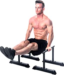 XL Parallette Bars, Versatile Push Up & Dip Bars for Strength Workouts, Upper Body Exercise Equipment | Powder Coated Parallettes & Large Non Slip Rubber Feet | Exercise Equipment for Home Training