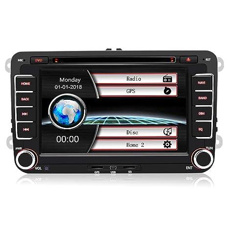 AWESAFE Radio Coche 7 Pulgadas con Pantalla Táctil 2 DIN para VW, Autoradio de VW con Bluetooth/GPS/FM/RDS/CD DVD/USB/SD, Apoyo Mandos Volante, ...