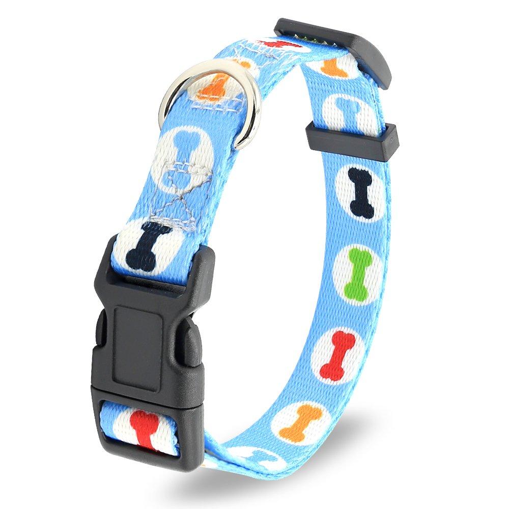 Illumifun Dog Collar Nylon Blue Bone Printed Adjustable Pet Collars for Small Medium Large Girl & Boy Dogs (L, Blue Bone)