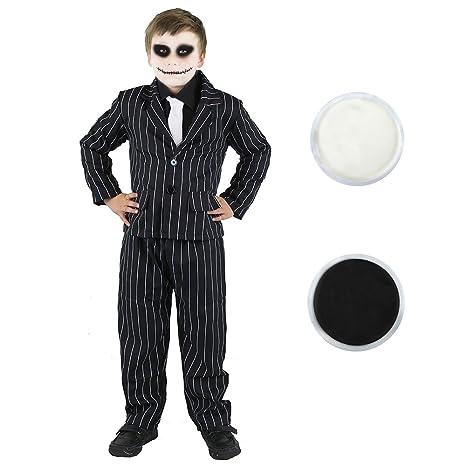 ILOVEFANCYDRESS Disfraz de traje de rayas y maquillaje facial de esqueleto para niños, color blanco