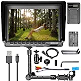 """Neewer NW759 7"""" HD 1280x800 IPS Screen Camera Monitor + 11"""" Magic Arm + USB Battery Charger + F550 Replacement Battery for Sony Canon Nikon"""