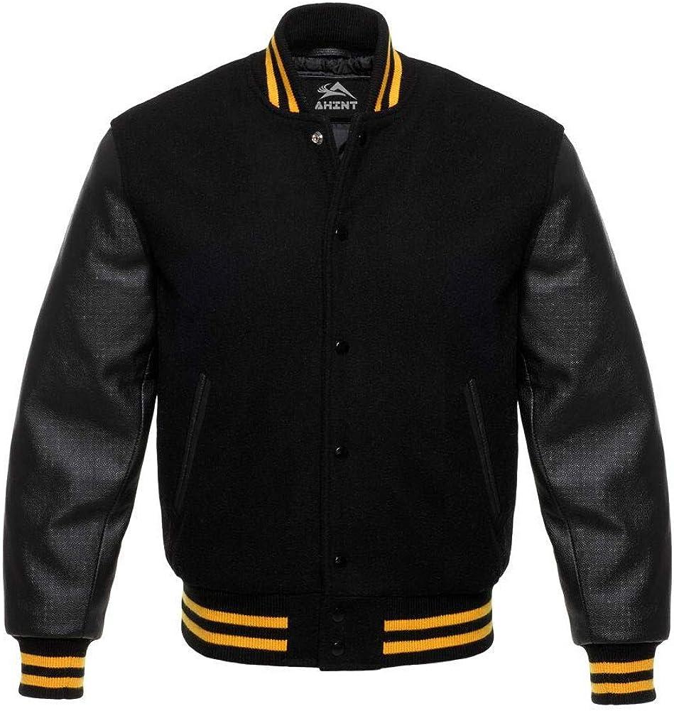 Varsity Letterman Baseball Premium Wool /& Genuine Leather Sleeves College Jacket