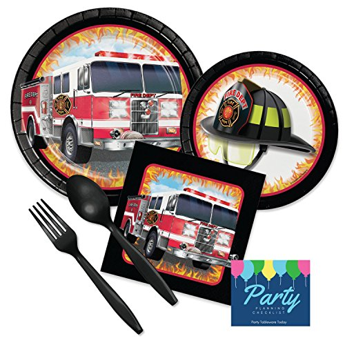 Fire Truck Deluxe Party Supply Pack for 16 Guests - Plates, Napkins, Plasticware