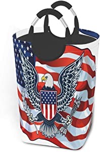 EJudge Laundry Basket Inspiring American Flag Eagle Large Collapsible Dirty Laundry Hamper Bag Tall Fabric Storage Baskets Rectangle Fold Washing Bin Hand Clothes Organizer for Kids,Dorm 50L